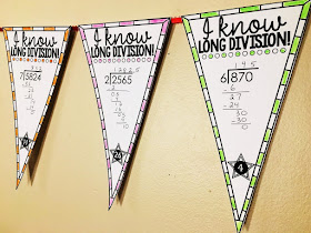 long division math pennant activity