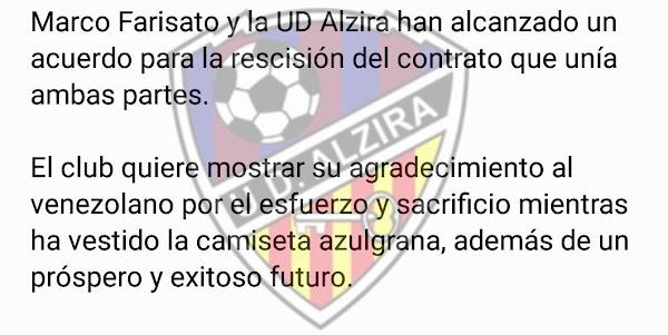 Oficial: UD Alzira, rescinde contrato Farisato