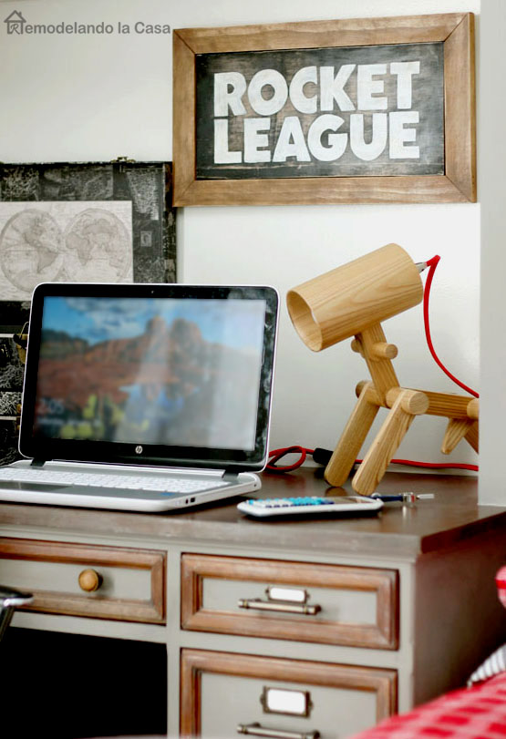 Rocket League Sign - boy room, desk area, laptop, dog wooden lamp