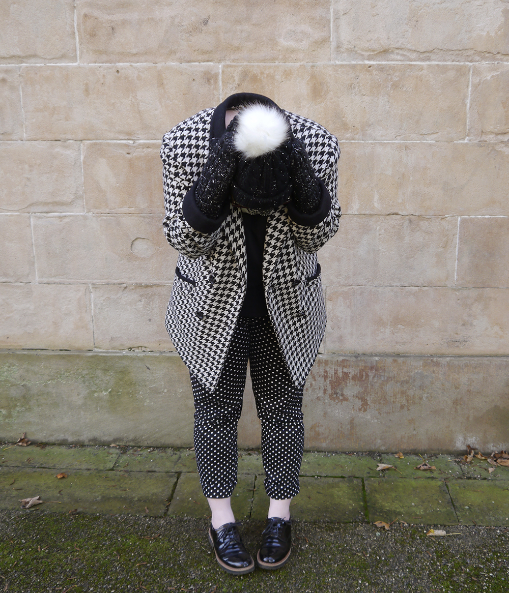 Styled by Helen, Scottish blogger, Wardrobe Conversations, Dundee blogger, winter outfit, winter style, dressing for winter, monochrome outfit, monochrome street style, winter accessories, Tiger, charity shop find, clashing patterns, black and white outfit, pom pom hat