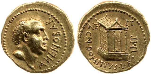áureo de Domicio Ahenobarbo 41 a.C.