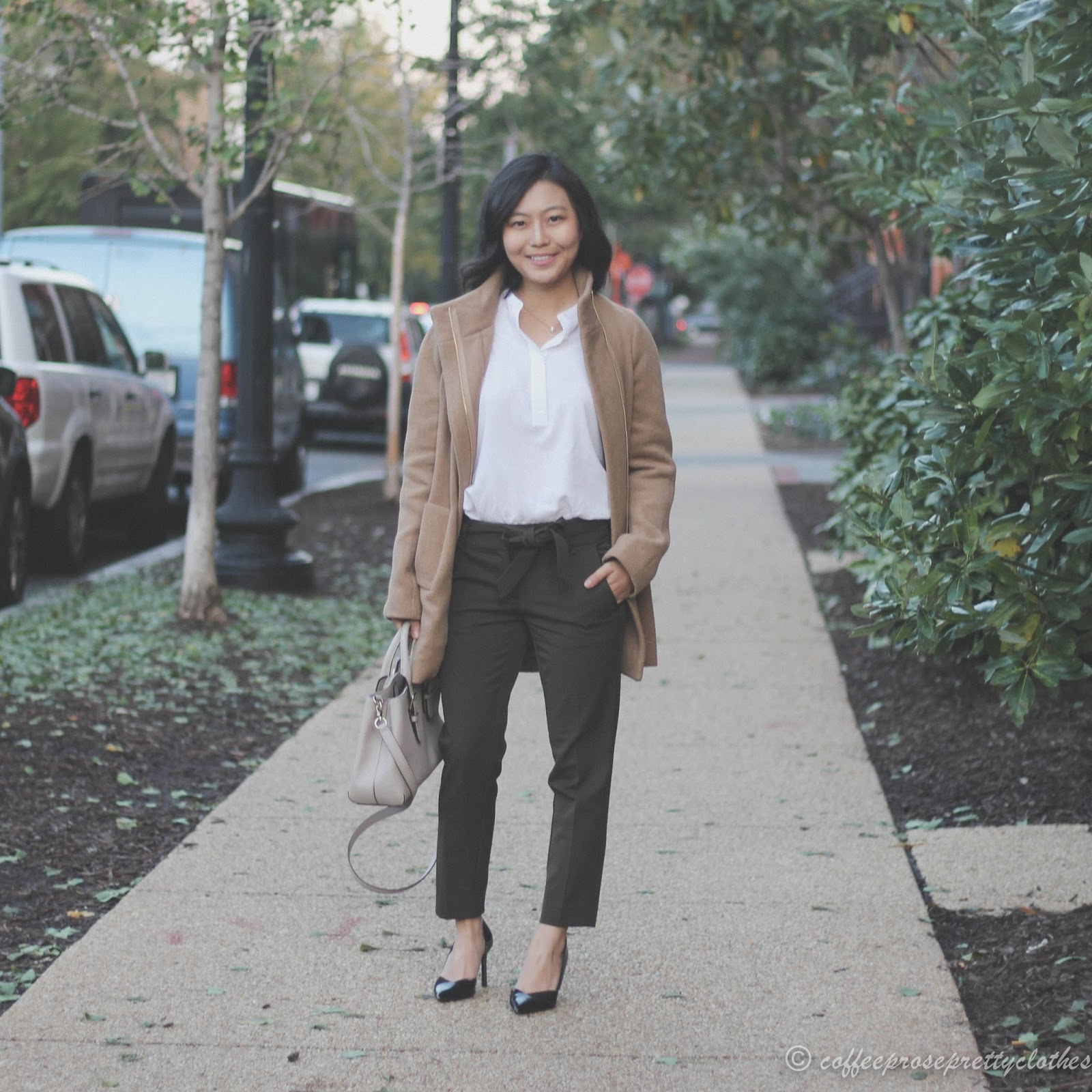 J.Crew cocoon coat, LOFT cropped trousers, Uniqlo rayon blouse, Kate Spade bag