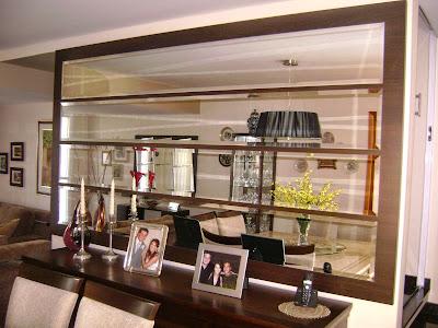 foto de Espelhos decorativos para sala de jantar parede toda