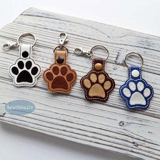 Dog Paw Print Key Fob, Purse Charm