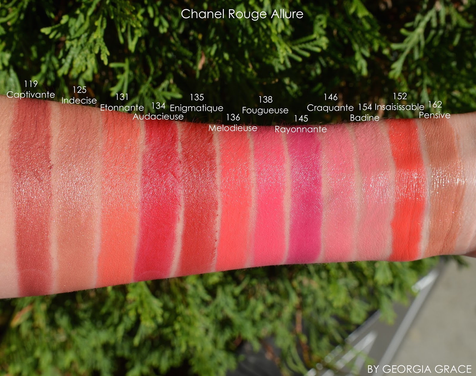 Chanel Velvet Lipstick Swatches