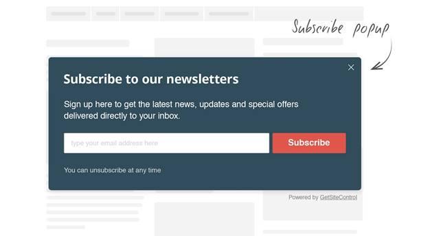 popup email subscribe widget
