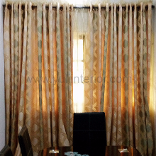 Gold and Green Eyelet Curtains, Nigeria