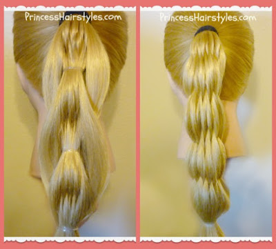 Quilted pull through ponytail and multi strand pull through comparison.