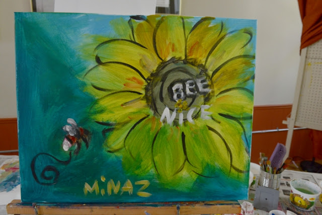'Bee Nice' 20 minute acrylic painting on canvas by Minaz Jantz