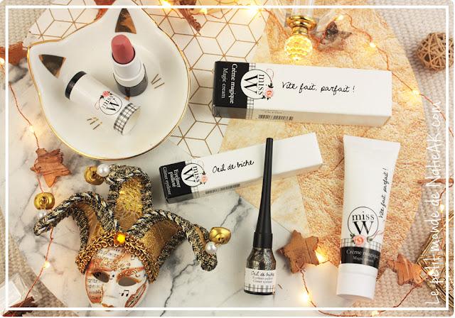 Maquillage naturel bio Miss W : crème magique, eye liner pailleté et rouge à lèvre bio