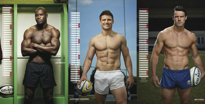 'Rugby's Finest' - 2013 • From left to right: Ugo Monye, Alex Cheesman and Ben Foden • Rugby Union Players