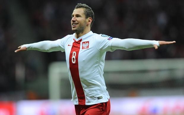 Krychowiak célébrant un but pour la Pologne