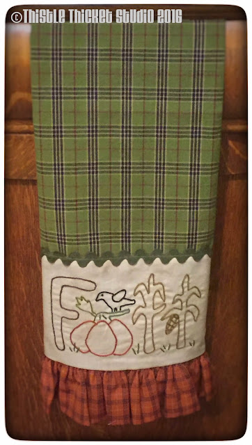 Thistle Thicket Studio, fall towel, embroidery, fall decor