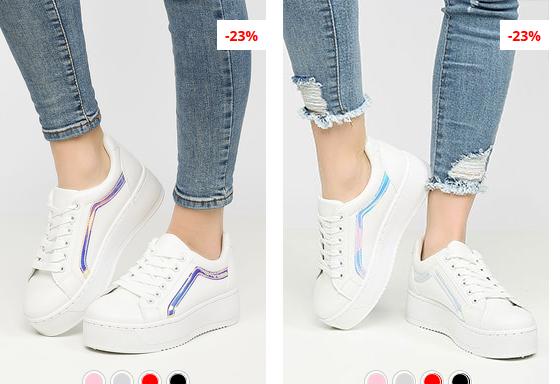 Adidasi fete moderni albi cu talpa grosa model nou