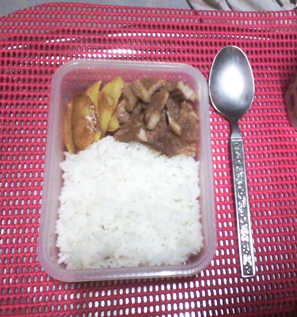 pork, potatoes, rice, baon, baunan, leftover food
