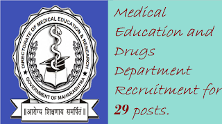 Medical Education and Drugs Department Recruitment for 29 posts.