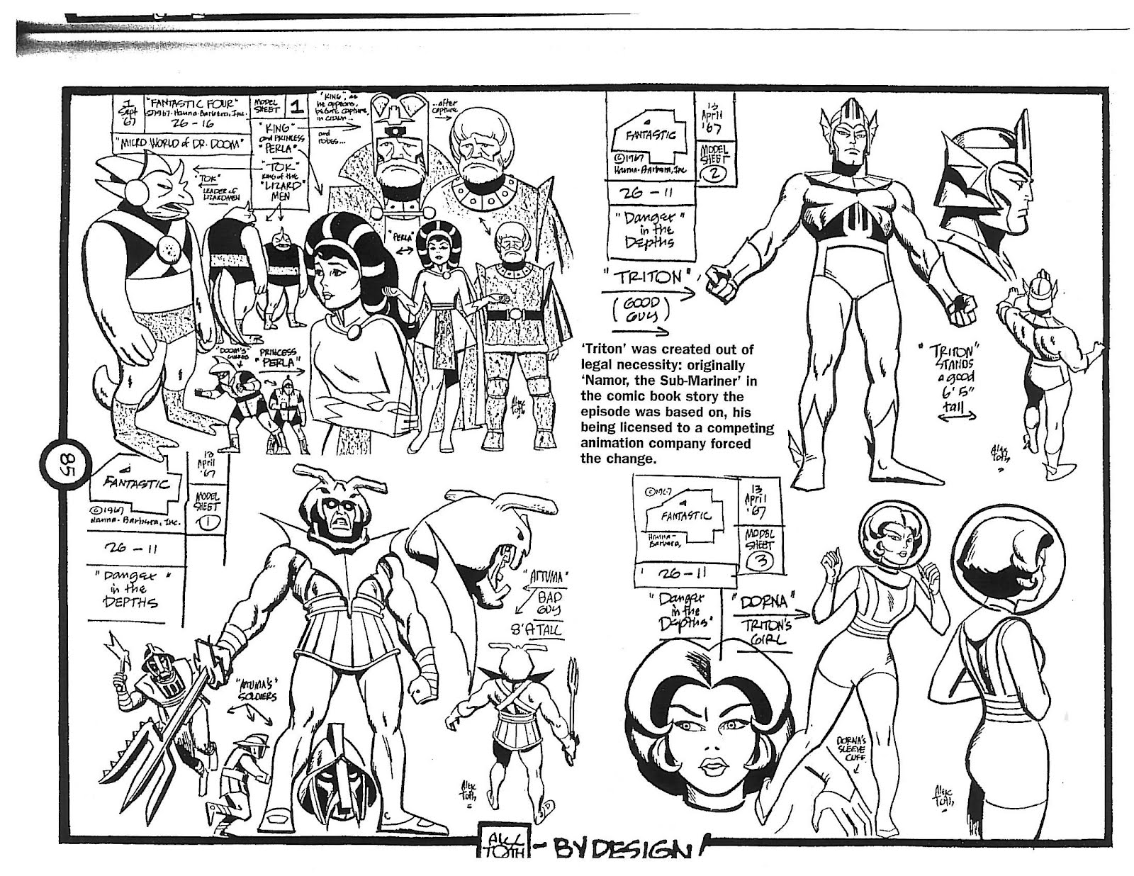 Cartoon Concept Design Alex Toth Model Sheets Fantastic Four