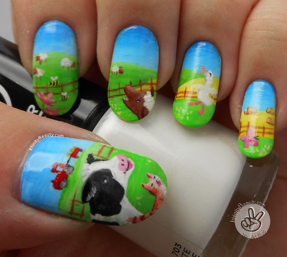 The Noisy Noisy Farm Freehand Nail Art Inspired By A Childrens