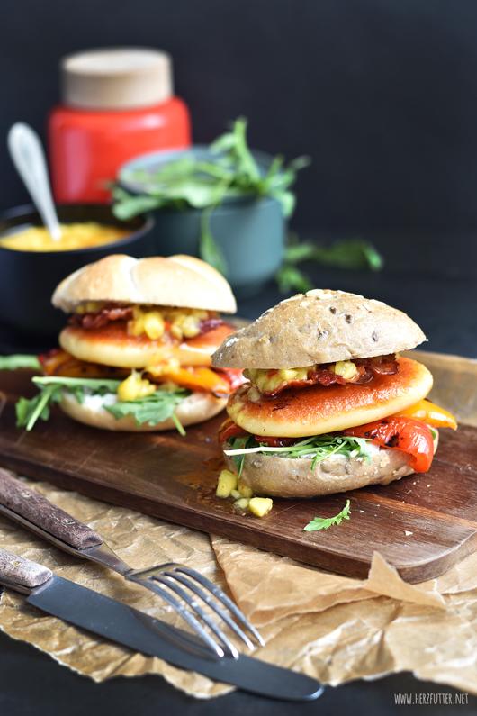 Vegetarischer Burger mit Mangosauce