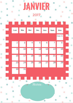 Calendrier gratuit 2017 à imprimer mois de janvier