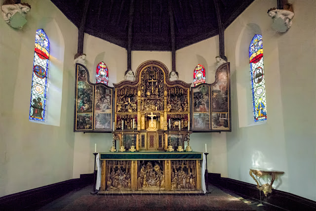 Ancient religious triptych at Oxburgh Hall chapel
