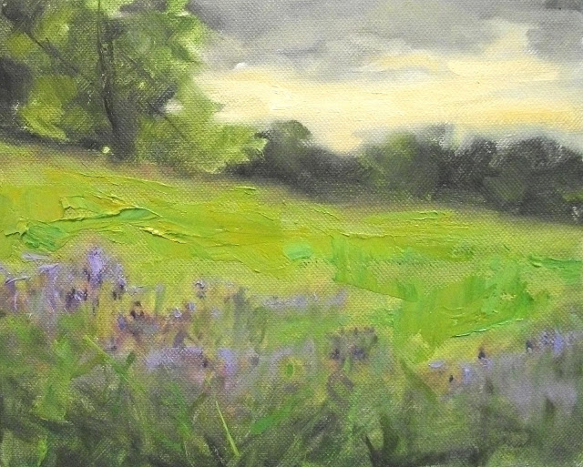 purple flowers field oil painting
