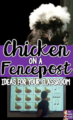 Chicken on a Fencepost -Ideas for your classroom.  This wonderful folk song is a favorite of students everywhere.  Learn the song, ideas for deciphering the rhythm and a fast and funny game with a rubber chicken!  Free download of worksheets for Chicken on a Fencepost are also included. Great for elementary music teachers.