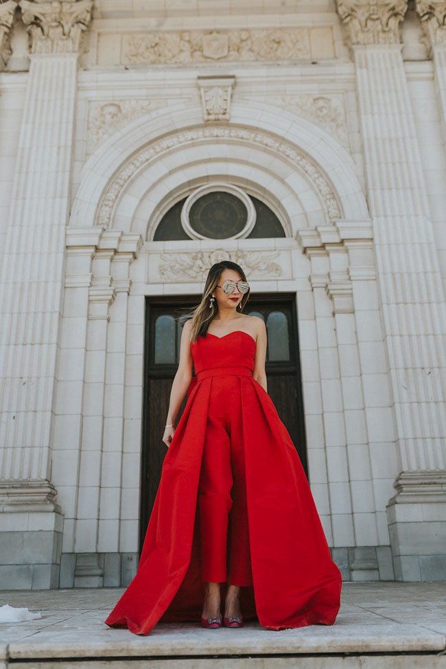 Red Soles and Red Wine, red jumpsuit, Best Valentine's Day Outfit, Jennifer Worman, Chicago Style Blog, Valentine's Day Style, Best Red Jumpsuit