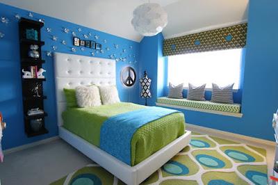 dekorasi kamar anak dengan konsep biru simple