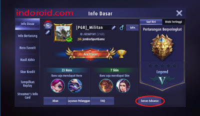 Cara Bermain Di Server Advance Mobile Legends