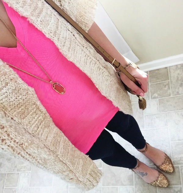 kendra scott, neon pink shirt, glitter flats