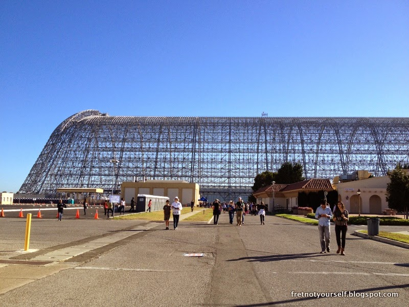Northern end of the metal skeletal structure of Hangar One.