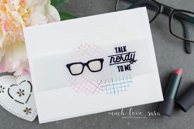 Clean, simple, and a little nerdy.  This fun card was created using the new Geek Chic and Grid Paper stamps from Fun Stampers Journey.