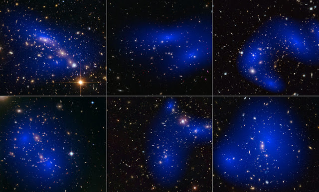This collage shows NASA/ESA Hubble Space Telescope images of six different galaxy clusters, with the distribution of dark matter colored in blue.