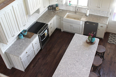 View of remodeled kitchen, with Cambria Berwyn quartz countertop