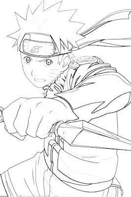 Lembar Mewarnai Naruto Uzumaki membuat ikat kepala naruto