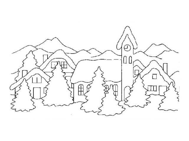Gambar Mewarnai Pemandangan Musim Dingin - 6