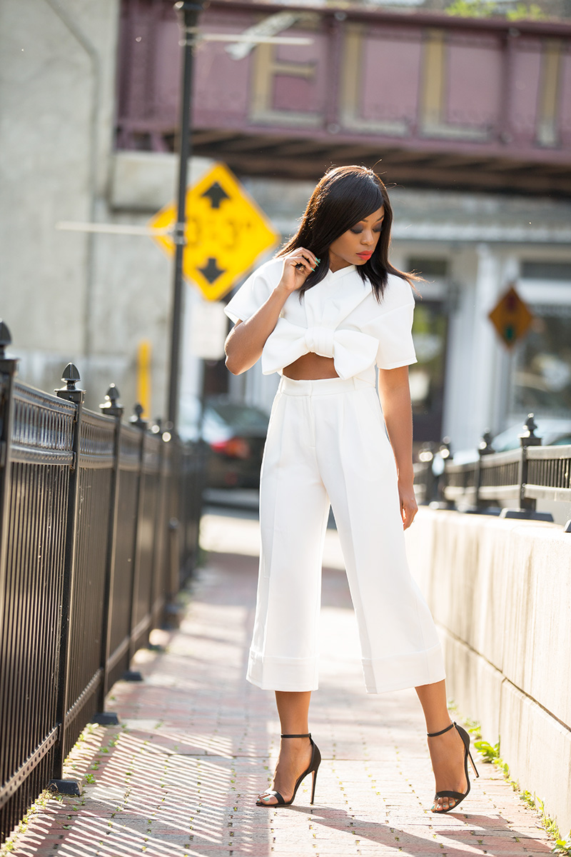 summer whites, boohoo Eimear Bow Front Crop, asos high waist culottes, www.jadore-fashion.com