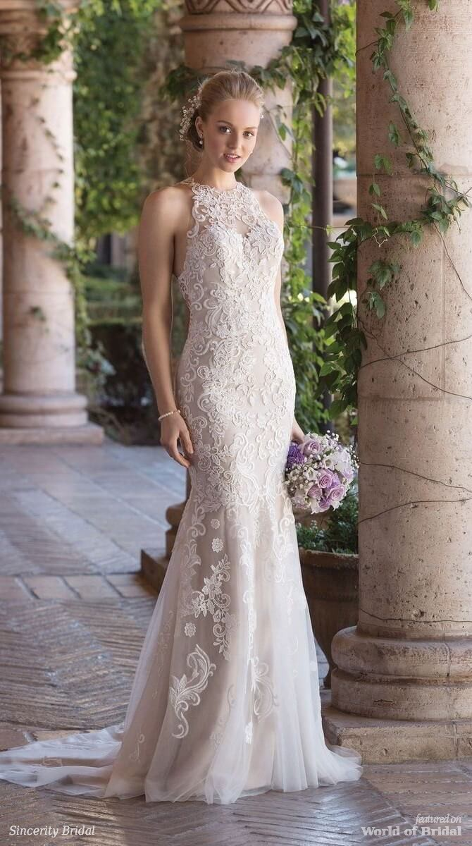 Sincerity Bridal Spring 2018 Jewel Neck Fit and Flare Gown with Illusion Lace Racer Back