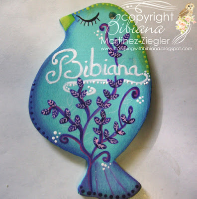 tutorial wood bird name tag with decoart finished