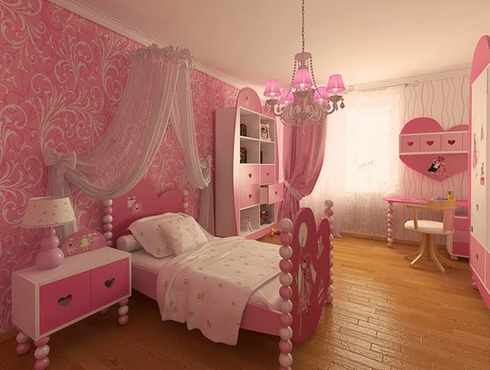 Parquet floors can give a warm feeling to the princess bedroom.