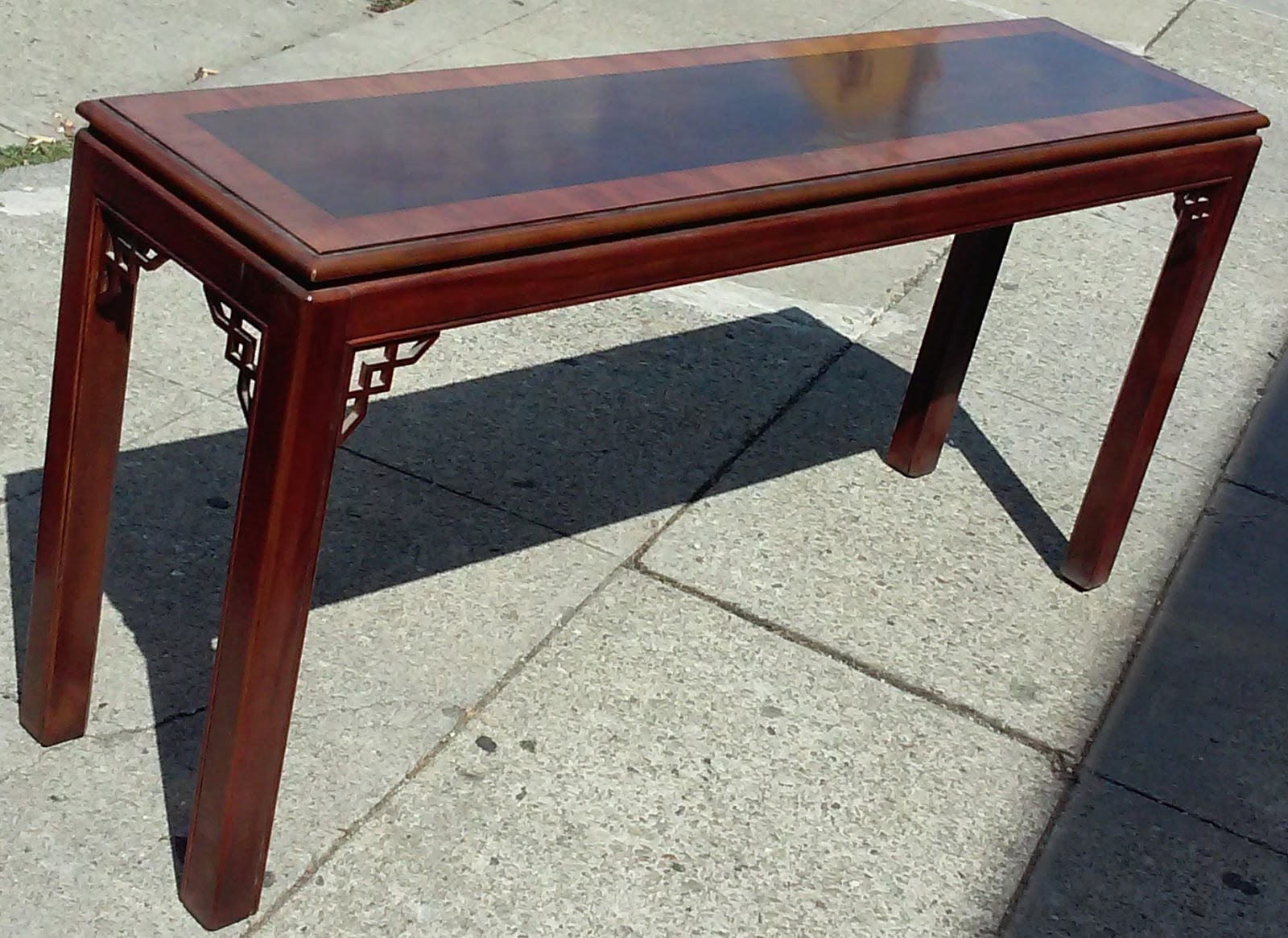 SOLD #5574 Drexel Vintage Modern Asian Sofa Table   $65