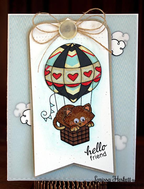 Hot Air Balloon Card by Larissa Heskett | Newton Dreams of Paris Cat Stamp set by Newton's Nook Designs