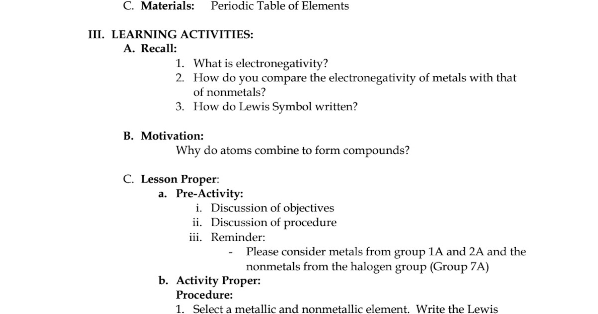 Science concepts and questions k to 12 sample lesson plan in science urtaz Choice Image