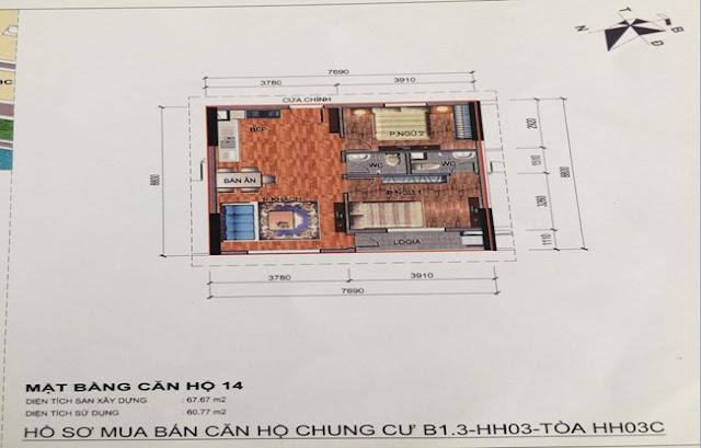 Sơ đồ thiết kế căn hộ 14 chung cư B1.3 HH03C Thanh Hà Cienco 5