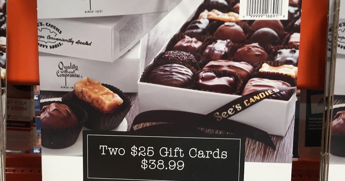 See's Candies 2 $25 Gift Cards | Costco Weekender