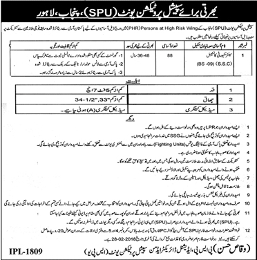 Jobs In Special Protection Unit (SPU) Lahore 2018 for 88 Posts