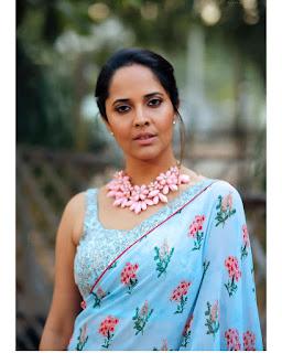Anchor Anasuya Bharadwaj Pink Blue Saree HD Photos