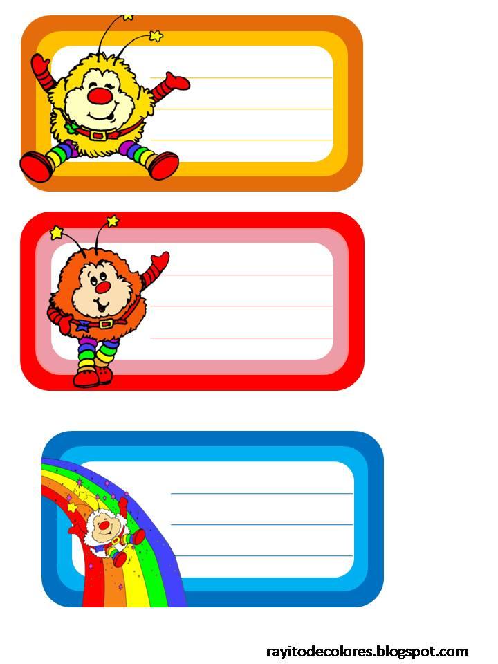 Etiquetas escolares de Rainbow Brite
