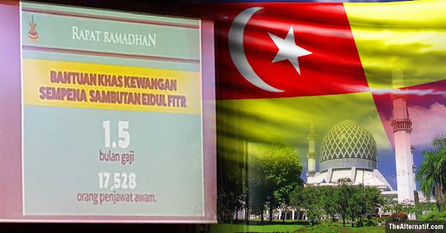 Selangor umum Bonus Aidilfitri 1 setengah bulan gaji